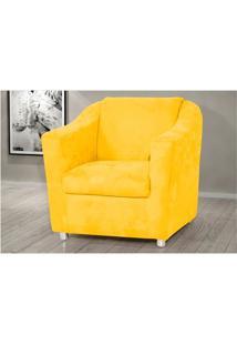 Poltrona Decorativa Para Sala E Escritório Tilla Sued Amarelo - Jm Estofados