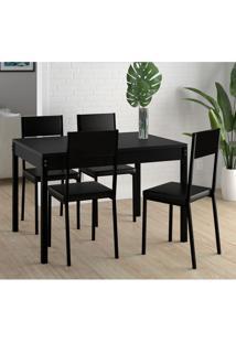 Conjunto De Mesa De Cozinha Easy Com 4 Cadeiras Preto