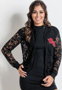 Jaqueta Bomber Em Renda Preta Com Rosas