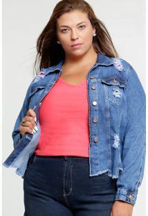 Jaqueta Feminina Jeans Destroyed Plus Size