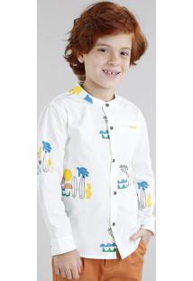 Camisa Infantil Bento Estampada De Prancha De Surf Gola Padre Manga Longa Off White
