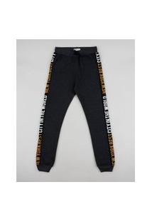 "Calça De Moletom Juvenil New York Best City"" Chumbo"""