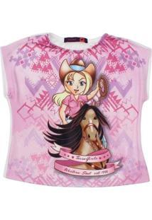 Camiseta Infantil Girls Rodeo West Estampada Feminina - Feminino-Rosa