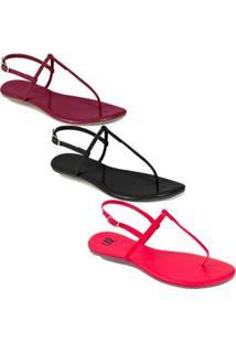 Kit Rasteira Mercedita Shoes Verniz Feminina - Feminino-Preto+Vinho