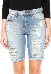 Bermuda Jeans Lez A Lez Destroyed Azul