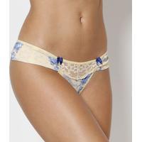 55b37a4a6 Calcinha Tanga Floral Com Lycra®- Amarela   Azulfruit De La Passion