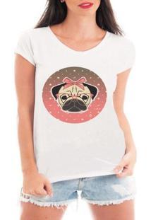 Camiseta Criativa Urbana Pug Fêmea - Feminino-Branco