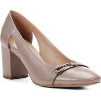 26c0b06d4 Scarpin Shoestock Salto Bloco Lezard Metal - Feminino-Cinza
