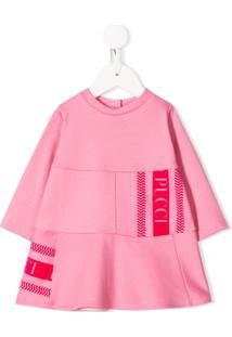 Emilio Pucci Junior Vestido Com Estampa De Logo - Rosa