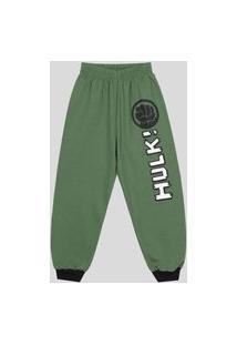Calça Infantil 4 A 10 Anos Moletom Marvel Hulk Verde Verde
