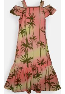 Vestido Midi Mini Cherie Tropicale Laranja