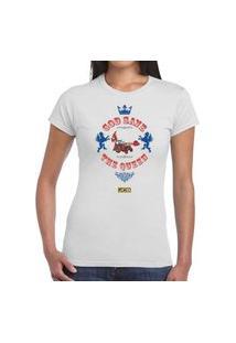 Camiseta Feminina Branca God Save The Queen Jcb