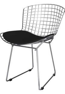 Cadeira Bertoia Assento Courrissimo Preto Cromada 4601 - Sun House