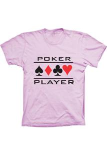 Camiseta Baby Look Lu Geek Poker Player Rosa