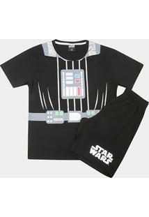 Pijama Infantil Lupo Curto Star Wars Masculino - Masculino-Preto+Chumbo