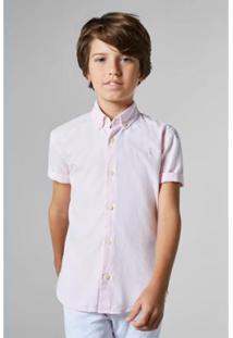 Camisa Masculina Infantil Mini Oxford Mc Reserva Mini - Masculino-Rosa Claro
