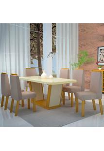 Mesa De Jantar Delta 1,80M Com Vidro Offwhite + 6 Cadeiras Delta Luxo Veludo Especial - Noce Com Offwhite