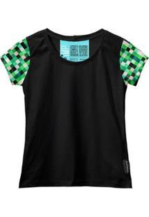 Camiseta Baby Look Feminina Algodão Estampa Casual Estilo - Feminino-Verde+Preto