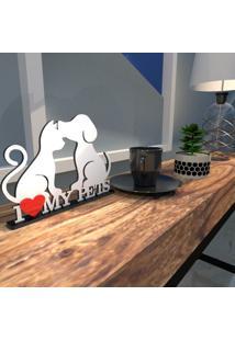 Escultura De Mesa Adorno Branco I Love My Pets Único