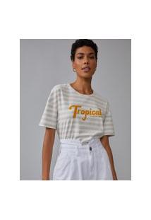 Amaro Feminino T-Shirt Regular Tropical State Of Mind, Listrado Fino