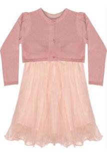 Vestido Infantil Tule Com Bolero Rosa