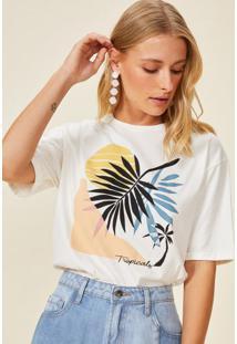 Amaro Feminino T-Shirt Colourful Tropical, Off-White