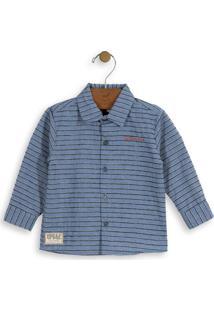 Camisa Listrada Infantil Azul