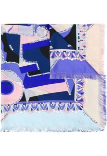 Emilio Pucci Cachecol Com Estampa Abstrata De Seda - Azul