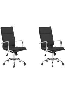 Conjunto Com 2 Cadeiras De Escritório Confort Presidente Preto