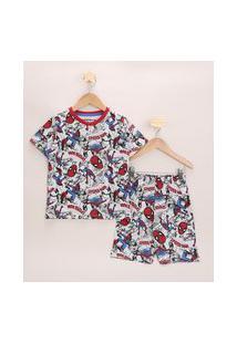 Pijama Infantil Homem Aranha Estampado Manga Curta Cinza Claro
