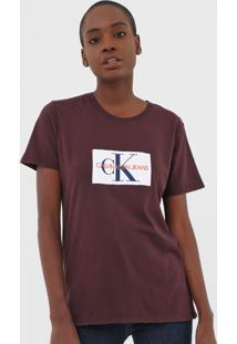 Camiseta Calvin Klein Jeans Logo Vinho - Kanui