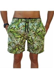 Bermuda Short Florida Moda Praia Relaxado Estampado Masculina - Masculino-Verde