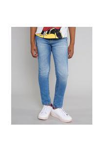 Calça Jeans Infantil Skinny Azul Médio