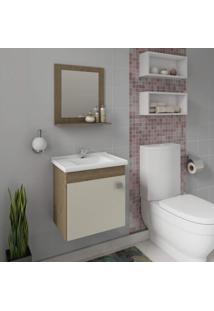 Gabinete Para Banheiro Com Cuba E Espelheira 1 Porta 1 Prateleira Íris Mgm Móveis Carvalho/Off White