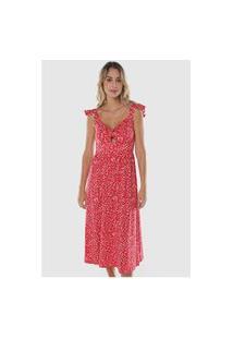 Vestido Midi Estampado Floral Liberty Sob Vermelho E Branco