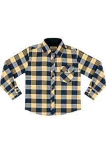 Camisa Look Jeans Manga Longa Xadrez Amarela