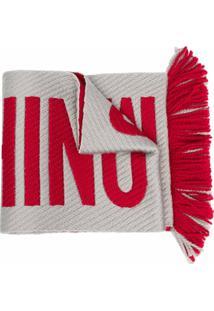 Moschino Cachecol De Lã Mista Com Estampa De Logo - Vermelho