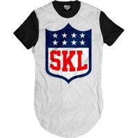 e73d8a4a52784 Home Vestuário Esportivo Camisetas Americana. Camiseta Longline Skull  League Clothing Masculina - Masculino-Branco