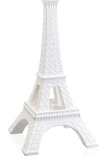 Escultura Decorativa Em Cerâmica Torre Eiffel 39Cm Branca
