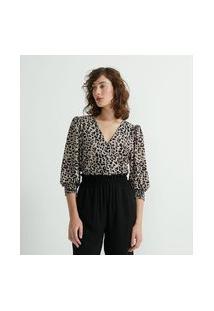 Camisa Em Jersey Com Manga Bufante E Estampa Animal Print | Cortelle | Bege | M