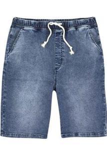Bermuda Jeans Masculina Jogger Em Denim - Masculino-Azul