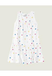 Vestido Poás Meia Malha Menina Malwee Kids Branco - P
