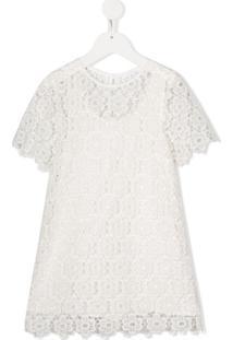 Chloé Kids Vestido Com Renda - Branco