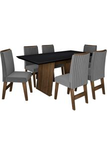 Conjunto De Mesa Para Sala De Jantar Com 6 Cadeiras Vigo -Dobuê Movelaria - Castanho / Preto / Grafite Bord