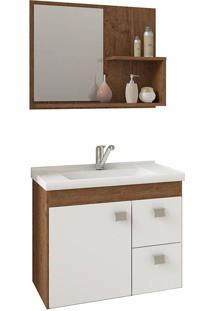 Conjunto Para Banheiro Com 1 Porta E 2 Gavetas Hortência-Mgm - Amendoa / Branco