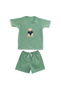 Pijama Curto Infantil Algodão Menino Mechler Verde