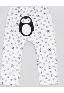 Calça Infantil Pinguim Estampada Branca