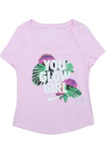Camiseta Nike Menina Escrita Rosa
