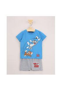 Pijama Infantil Tom E Jerry Manga Curta Azul
