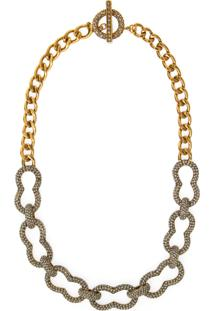 Colar Strass Hype - Ouro Vintage